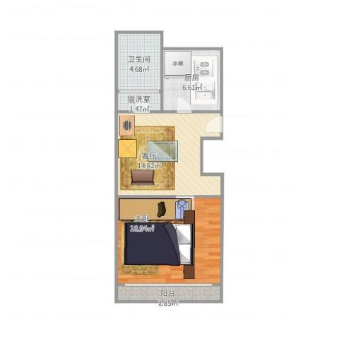 龙沟新苑1室2厅1卫1厨64.00㎡户型图