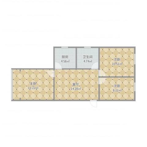 直戒坛寺巷22-3-4043室1厅1卫1厨75.00㎡户型图