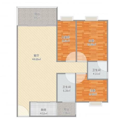 富力院士庭115㎡3房2卫3室1厅2卫1厨142.00㎡户型图