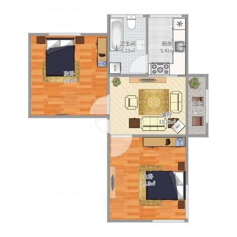 桃浦六村2室1厅1卫1厨75.00㎡户型图
