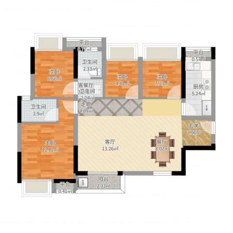 西湖怡景园4室1厅4卫2厨110.00㎡户型图