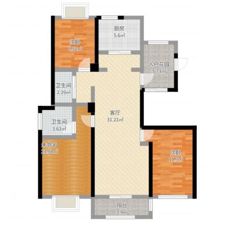 和协风格尚品2室1厅4卫1厨127.00㎡户型图