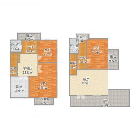 万科溪之谷别墅3室2厅2卫1厨282.00㎡户型图