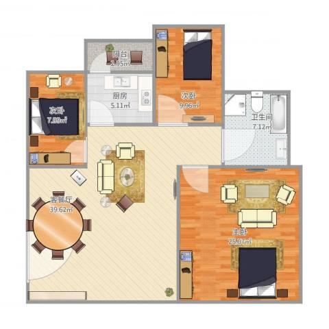 新宇楼3室1厅1卫1厨130.00㎡户型图