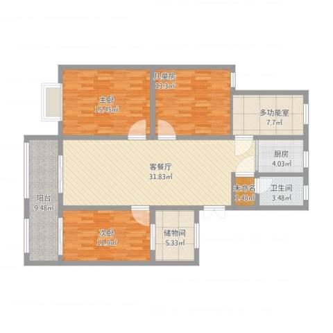 温馨花园3室1厅2卫1厨149.00㎡户型图
