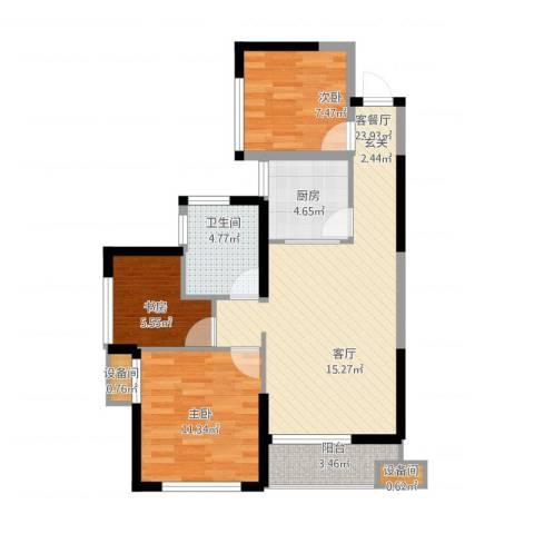 维一星城・原山苑3室1厅1卫1厨90.00㎡户型图