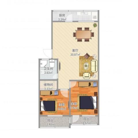 明湖小区2室1厅1卫1厨62.00㎡户型图