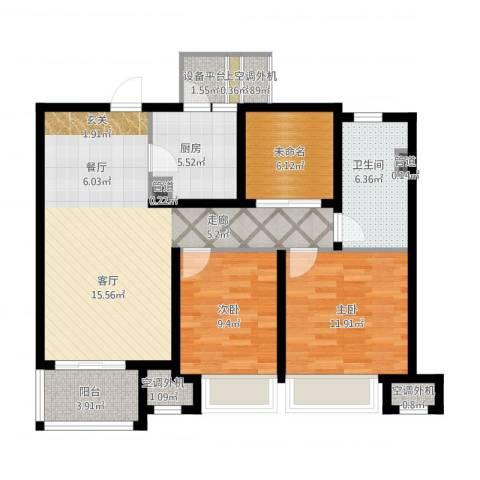 中海御景湾2室1厅1卫1厨112.00㎡户型图