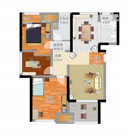 星光耀广场3室1厅1卫1厨113.00㎡户型图