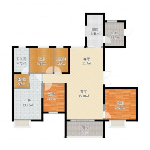 恒大名都4室1厅2卫1厨149.00㎡户型图