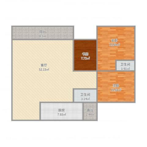 前卫江畔3室1厅2卫1厨150.00㎡户型图