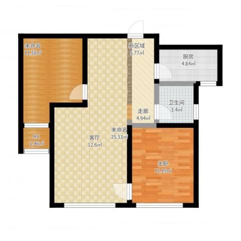 红石原著小区2室1厅2卫1厨93.00㎡户型图