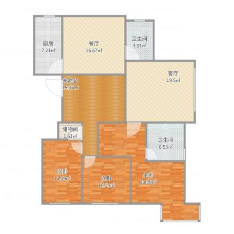 国信龙湖世家3室3厅2卫1厨154.00㎡户型图