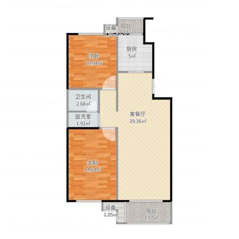 上海沙龙2室2厅3卫1厨97.00㎡户型图