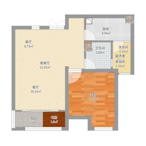 嘉宝紫提湾1室2厅2卫2厨69.00㎡户型图