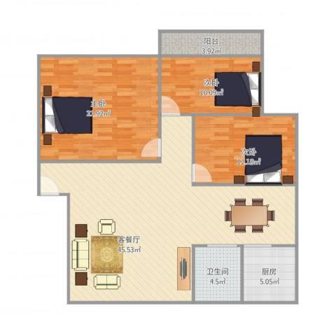 金帆小区3室1厅1卫1厨137.00㎡户型图