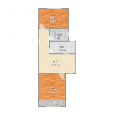 张杨南苑2室1厅1卫1厨80.00㎡户型图