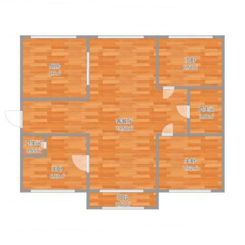 兰溪文苑3室1厅2卫1厨87.00㎡户型图