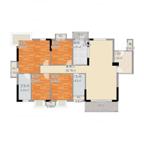 石竹山水园四期4室1厅2卫1厨173.00㎡户型图