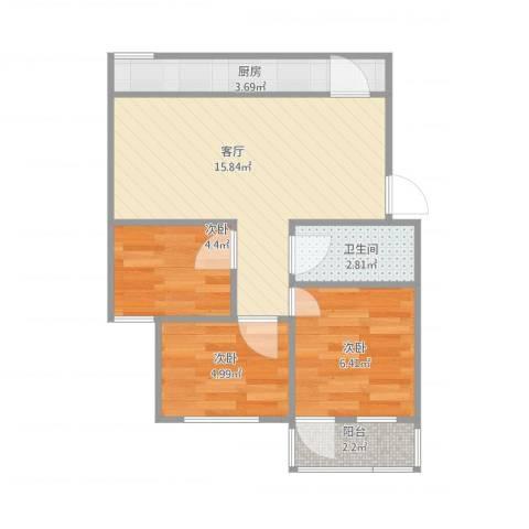 闵子骞路单位宿舍3室1厅1卫1厨56.00㎡户型图