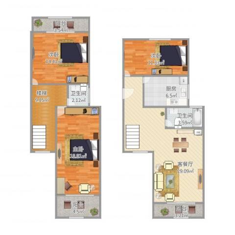 平阳四街坊3室1厅2卫1厨115.17㎡户型图