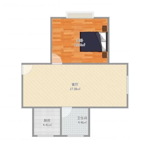 金桥湾清水苑1室1厅1卫1厨68.00㎡户型图