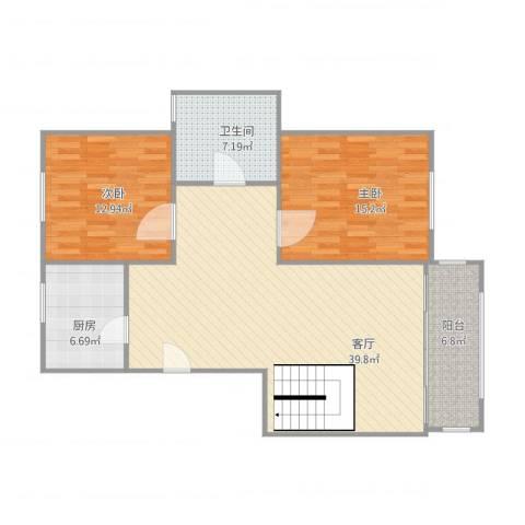 爱法花园一期2室1厅1卫1厨118.00㎡户型图