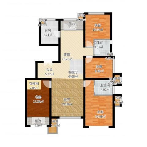亿城堂庭4室1厅2卫1厨163.00㎡户型图