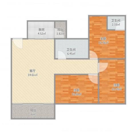 红棉雅苑17座9013室1厅2卫1厨125.00㎡户型图