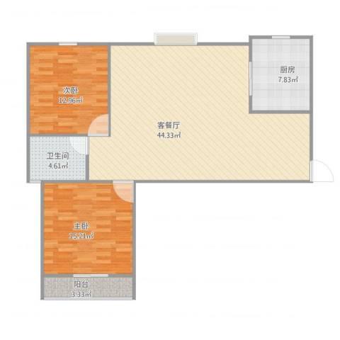 文怡苑2室1厅1卫1厨117.00㎡户型图