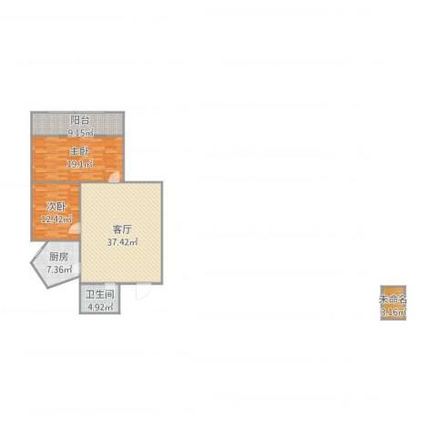 蓝天大厦2室1厅1卫1厨125.00㎡户型图