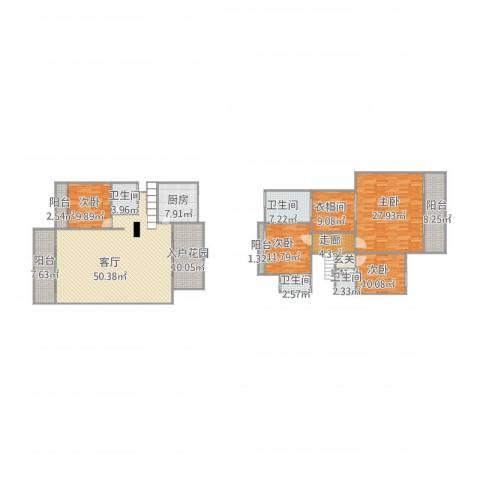水悦城邦19座B单位5014室1厅4卫1厨241.00㎡户型图