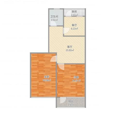 闵子骞路单位宿舍2室2厅1卫1厨85.00㎡户型图
