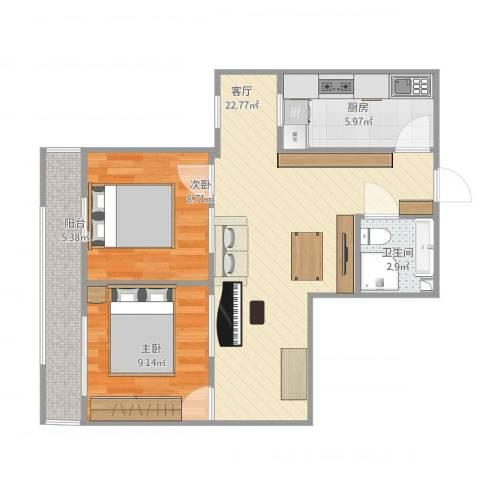 芍药居北里2室1厅1卫1厨75.00㎡户型图