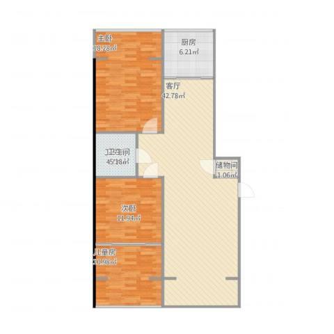 太华路鑫园小区3室1厅1卫1厨128.00㎡户型图