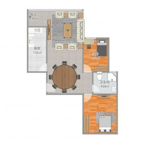 恒大幸福家园2室1厅1卫1厨87.00㎡户型图