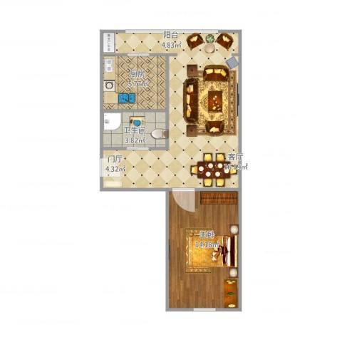 建欣苑六里1室1厅1卫1厨66.00㎡户型图