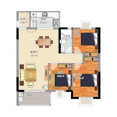 嘉利豪庭3室1厅1卫1厨124.00㎡户型图