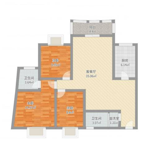 华盛家园3室2厅2卫1厨124.00㎡户型图