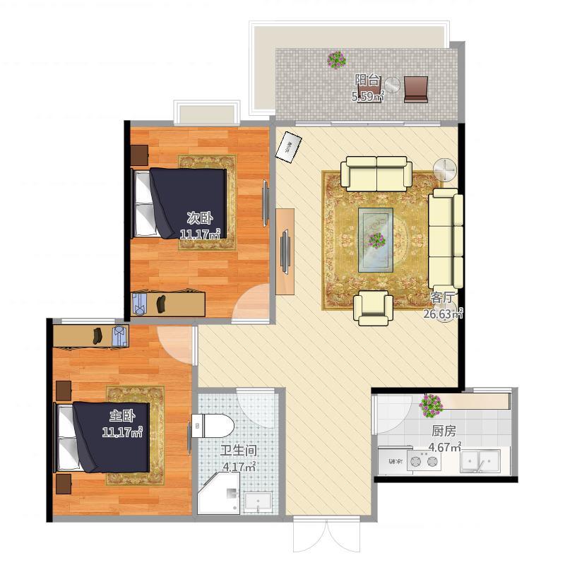 聚金雅园92平方A9-2-2404户型两室一厅