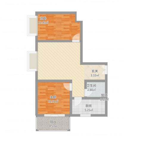 北方三角洲2室1厅1卫1厨68.00㎡户型图