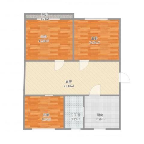 潼港八村3室1厅1卫1厨91.00㎡户型图