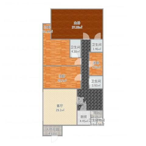 嘉信城市花园三期4室2厅4卫1厨216.00㎡户型图