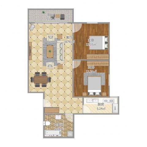五州大厦2室1厅1卫1厨104.00㎡户型图