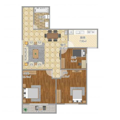 五州大厦01户型3室1厅1卫1厨118.00㎡户型图