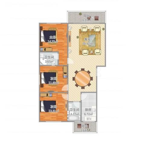松柏禾山家园3室1厅2卫1厨136.00㎡户型图