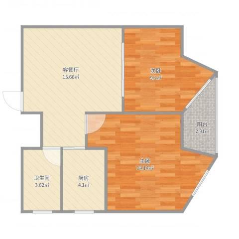 冠华大楼2室1厅1卫1厨53.11㎡户型图
