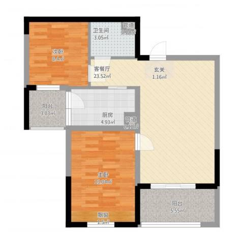 布鲁明顿广场2室1厅1卫1厨89.00㎡户型图