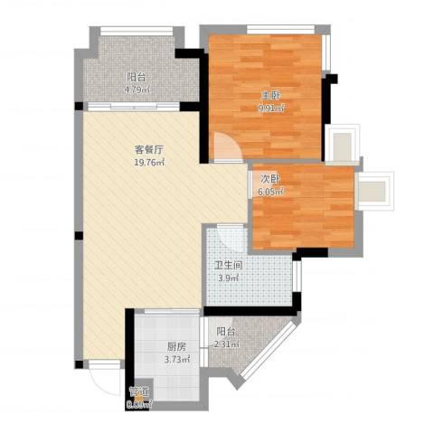 鹏基万林湖生态美墅2室1厅1卫1厨58.95㎡户型图