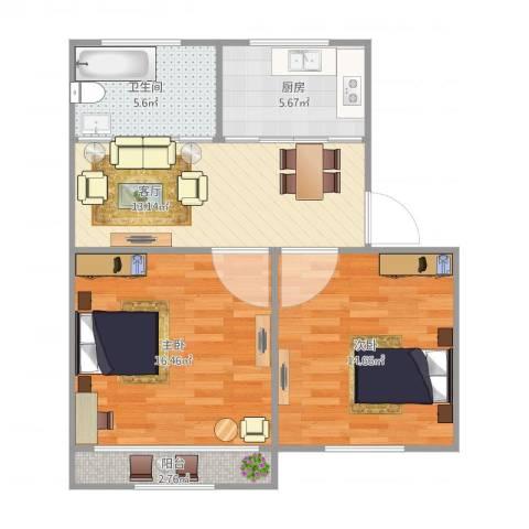 清涧六街坊2室1厅1卫1厨79.00㎡户型图